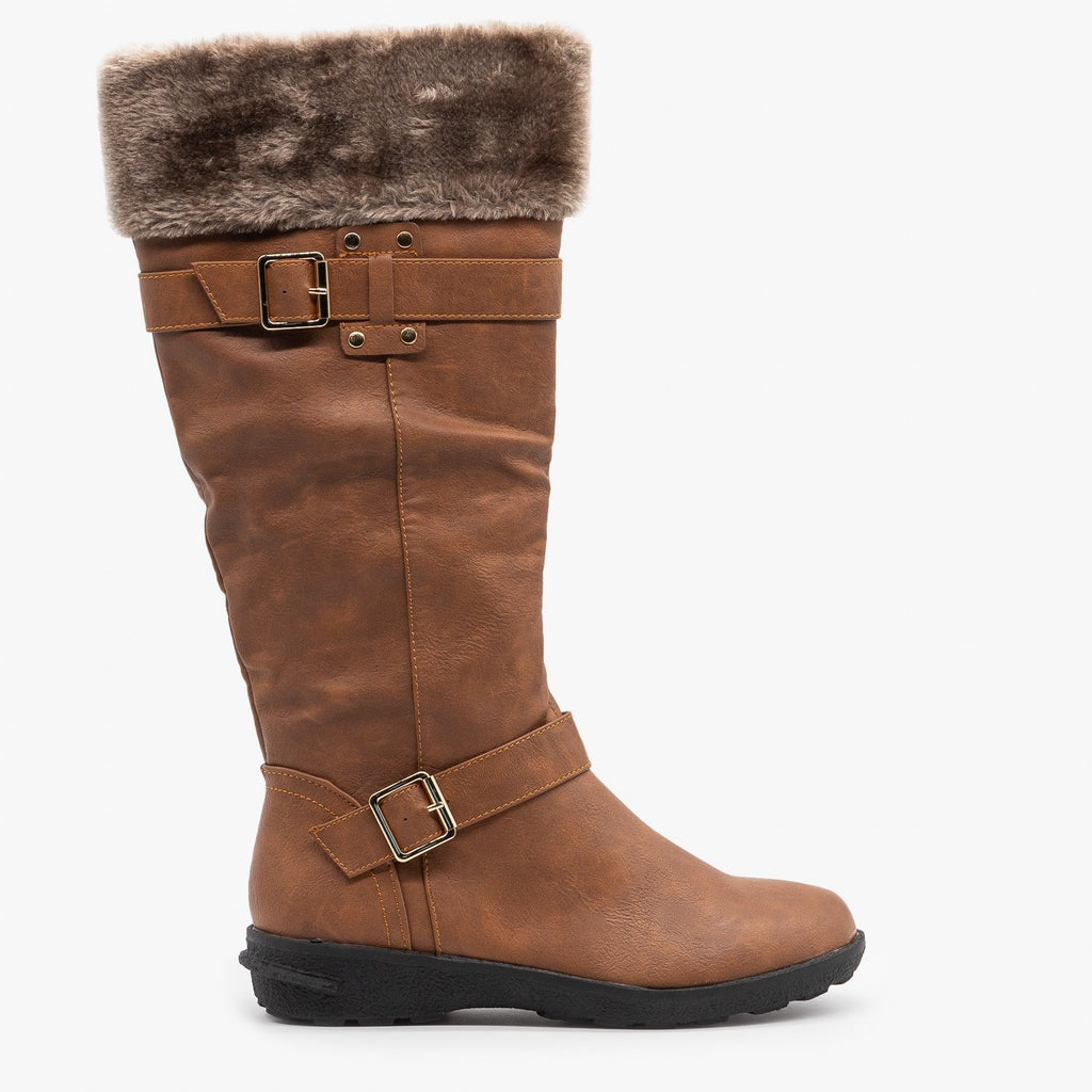Womens Faux Fur Cuffed Riding Boots - Forever - Tan / 5