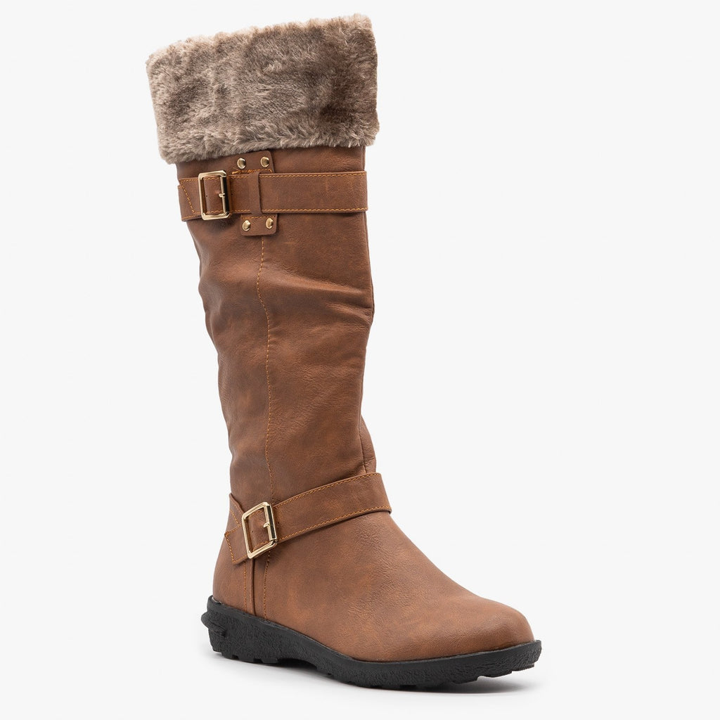 Womens Faux Fur Cuffed Riding Boots - Forever