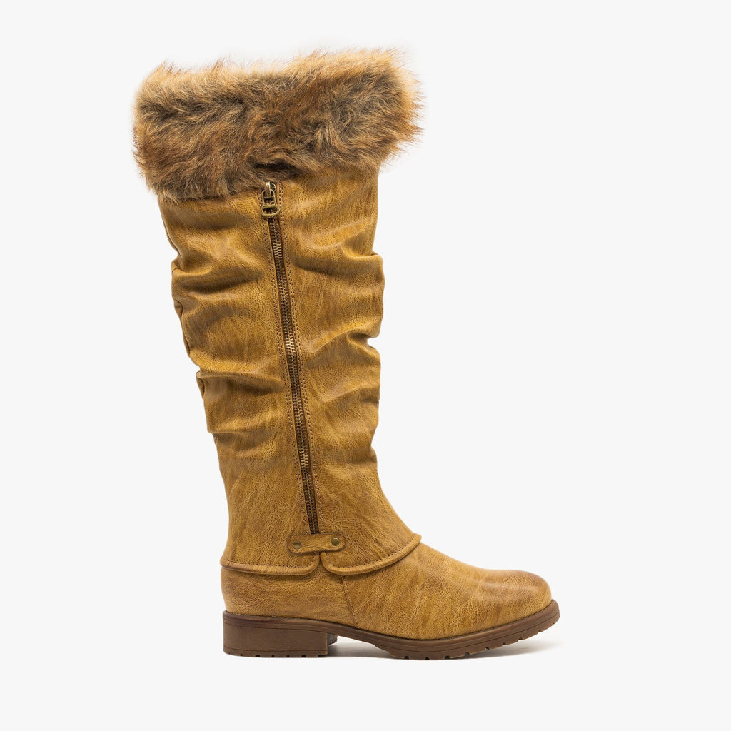 Womens Faux Fur Cuffed Slouchy Boots - Nature Breeze - Tan / 5
