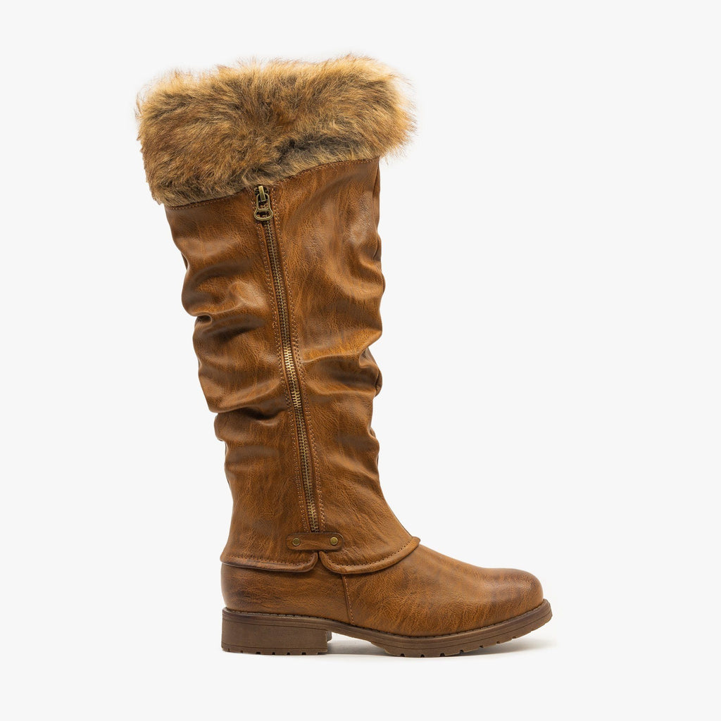 Womens Faux Fur Cuffed Slouchy Boots - Nature Breeze - Brown / 5