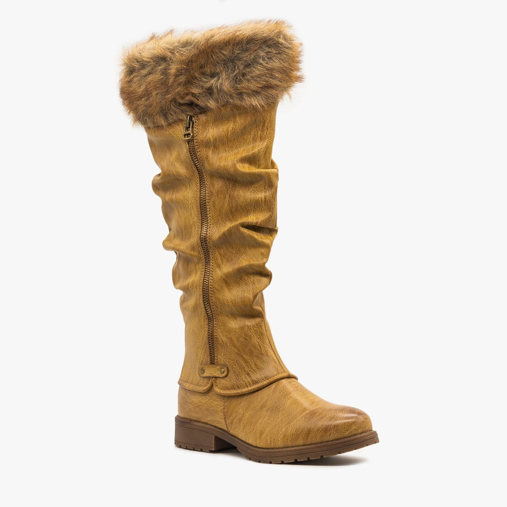 Womens Faux Fur Cuffed Slouchy Boots - Nature Breeze