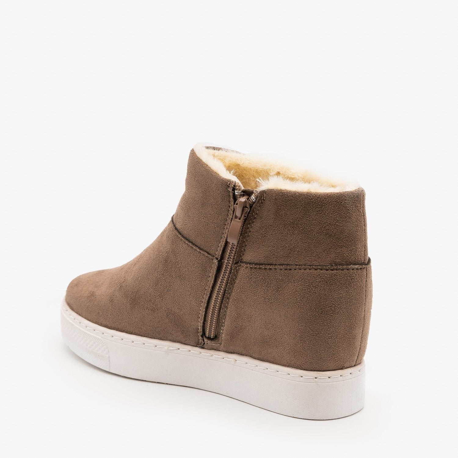 Faux Fur Lined Sneaker Wedges Bamboo