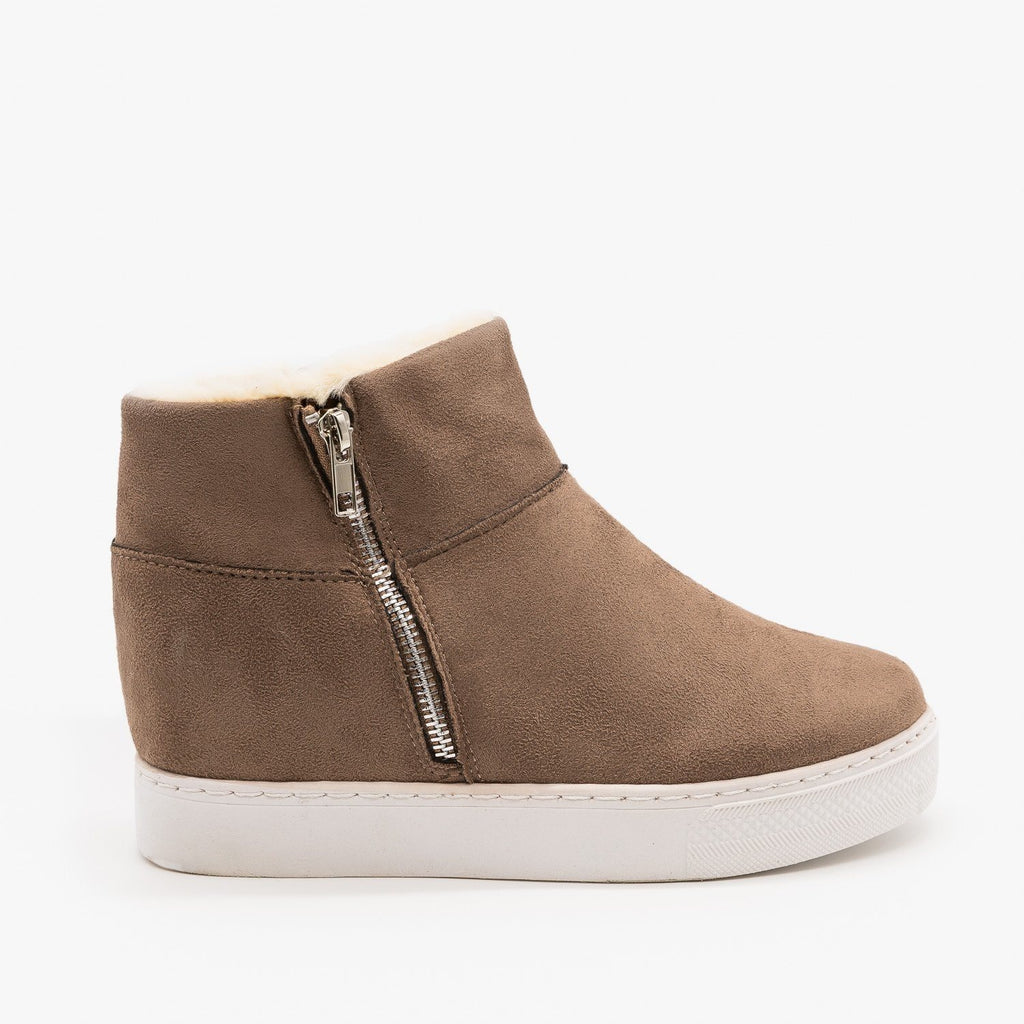 Womens Faux Fur Lined Sneaker Wedges - Bamboo - Taupe / 5