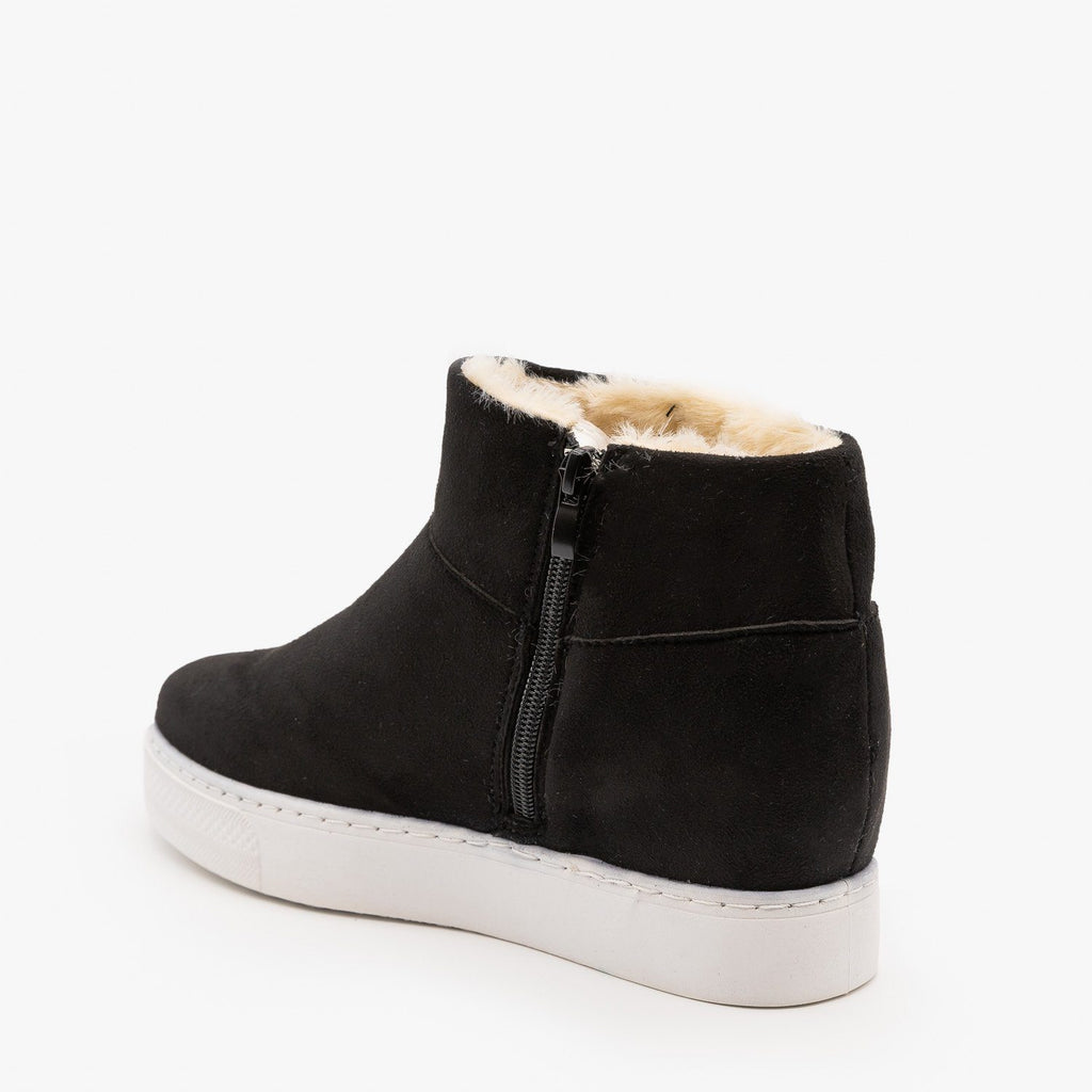 Womens Faux Fur Lined Sneaker Wedges - Bamboo