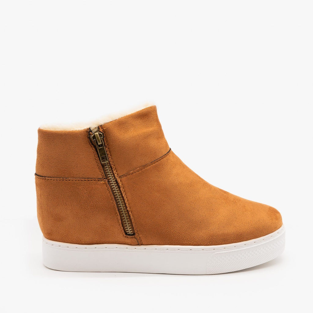 Womens Faux Fur Lined Sneaker Wedges - Bamboo - Dark Camel / 5
