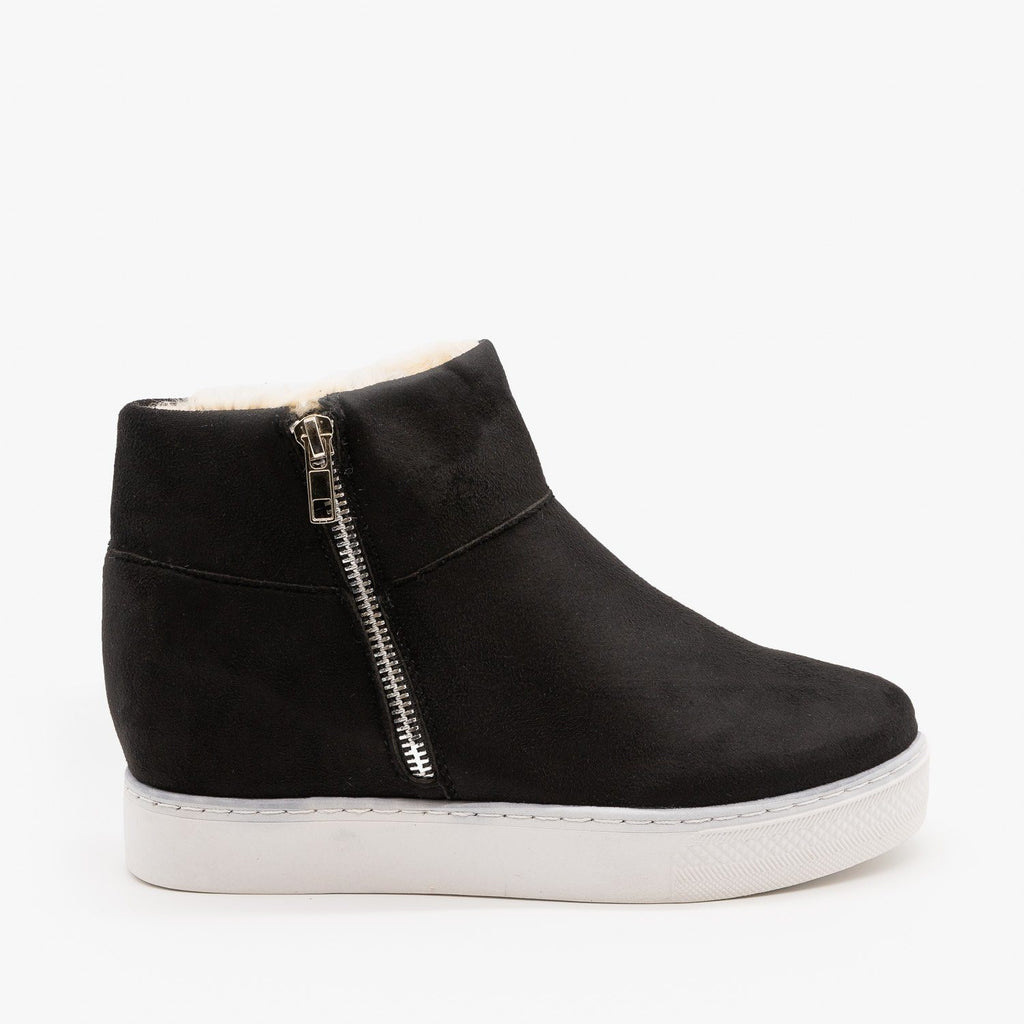 Womens Faux Fur Lined Sneaker Wedges - Bamboo - Black / 5