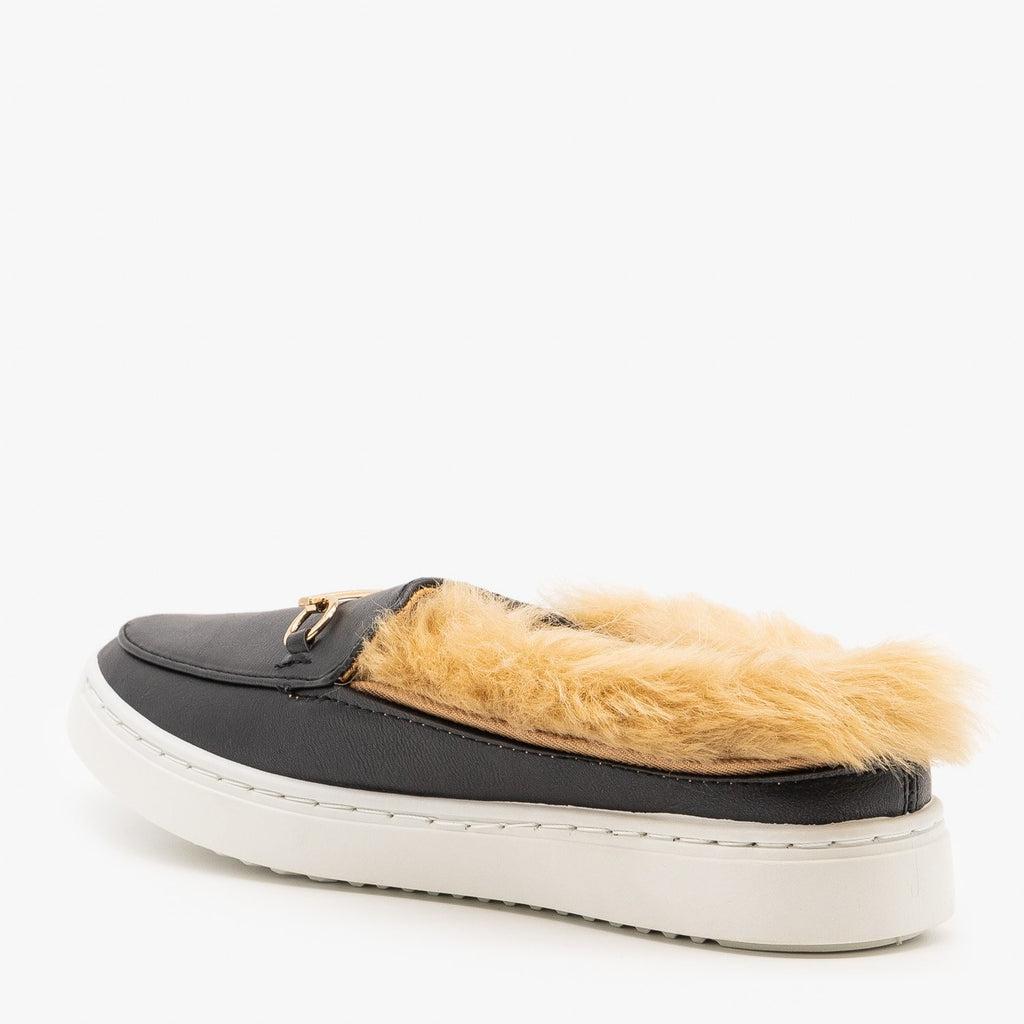 Womens Faux Fur Loafers - Bamboo Shoes