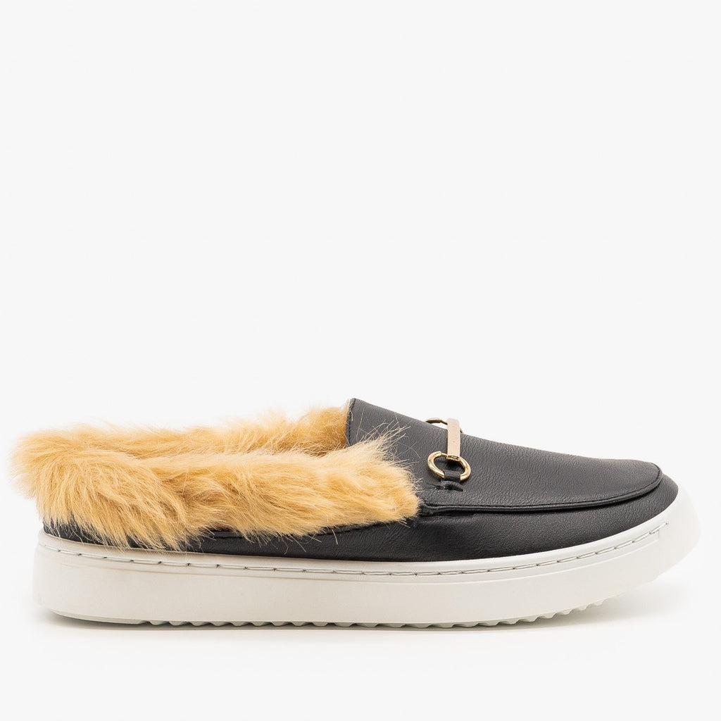 Womens Faux Fur Loafers - Bamboo Shoes - Black / 5
