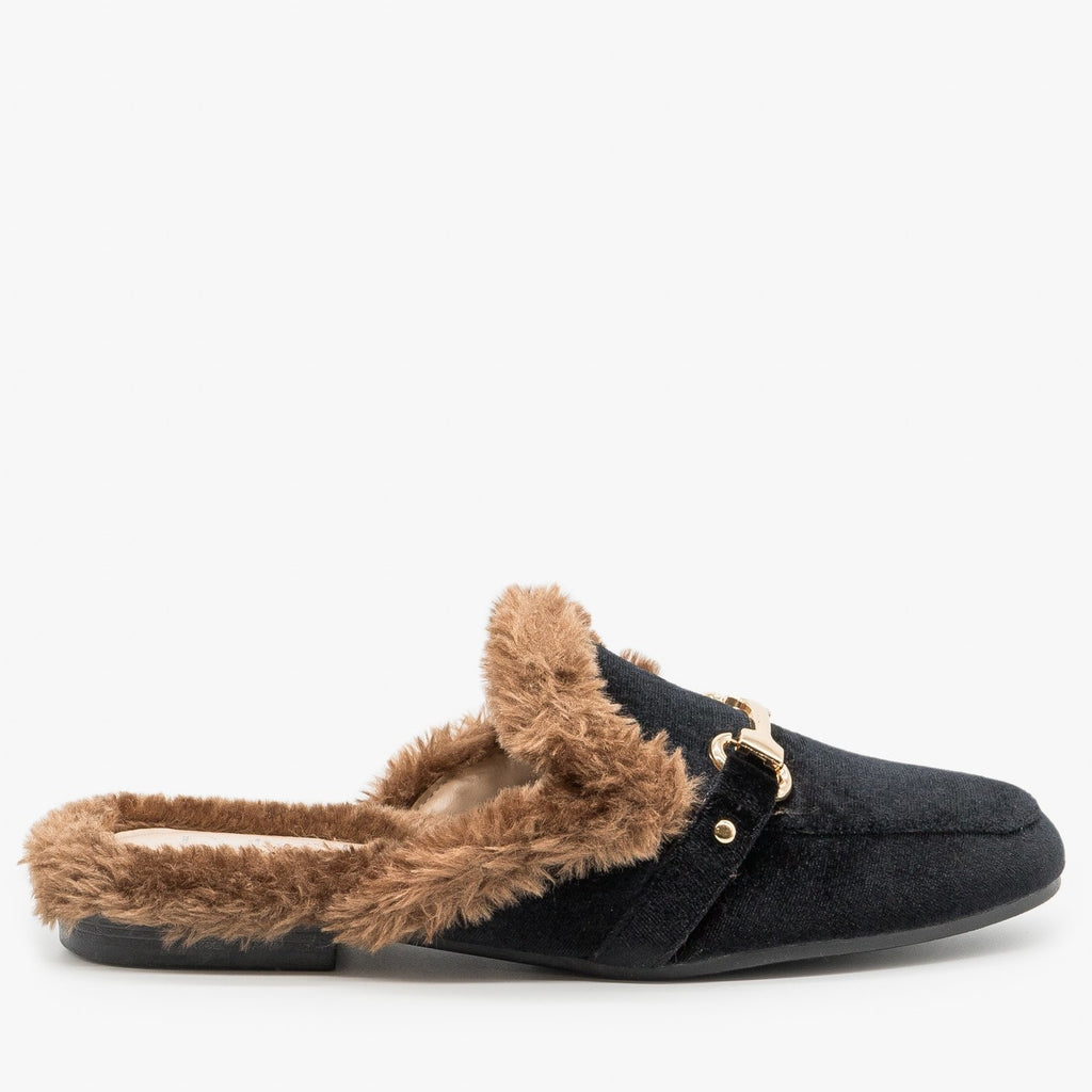 Womens Faux Fur Trimmed Mules - Refresh