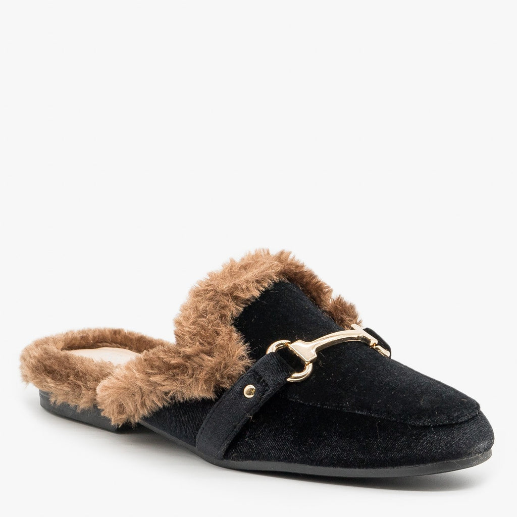 Womens Faux Fur Trimmed Mules - Refresh - Black / 5