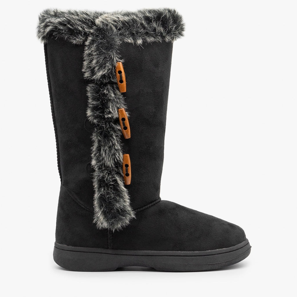 Womens Faux Fur Trimmed Winter Boots - Bamboo Shoes - Black / 5