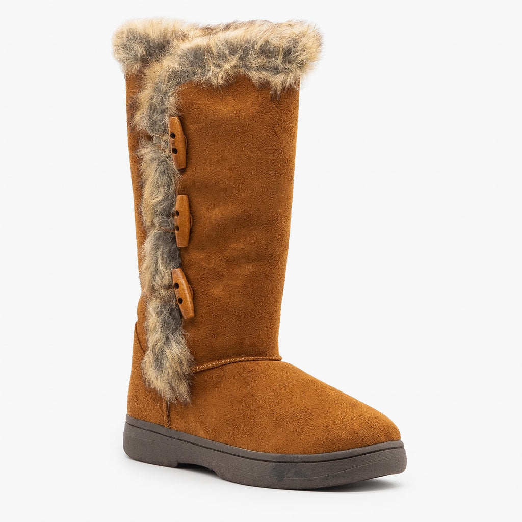 Womens Faux Fur Trimmed Winter Boots - Bamboo Shoes