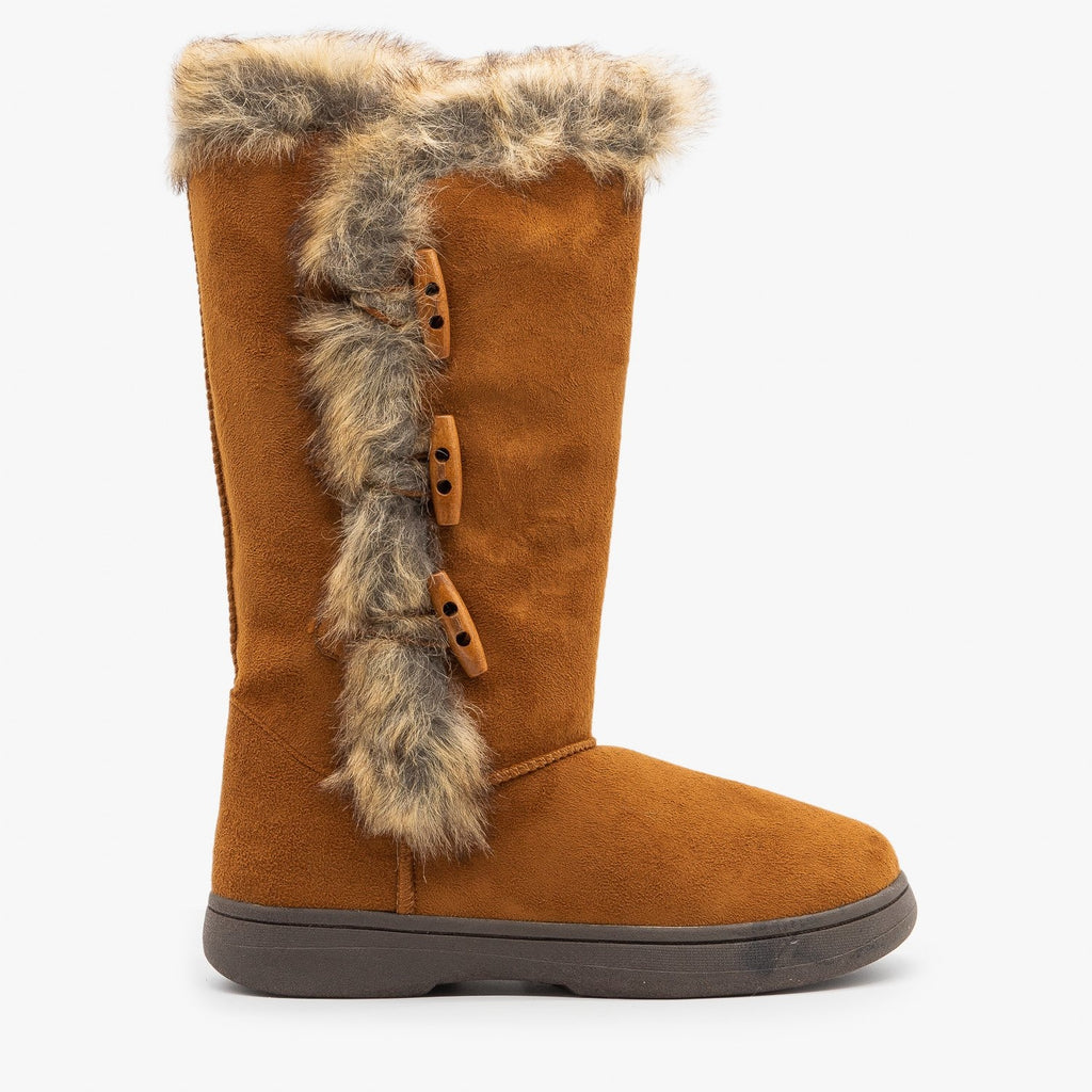 Womens Faux Fur Trimmed Winter Boots - Bamboo Shoes - Chestnut / 5
