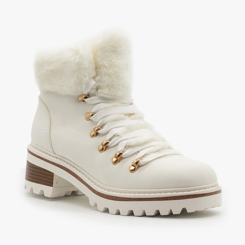 Womens Faux Fur Winter Booties - Bamboo Shoes - White / 5