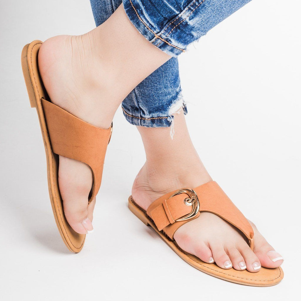 Womens Faux Leather Large Buckle Thongs - Bamboo Shoes