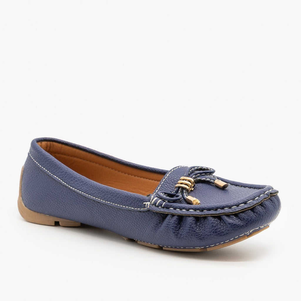 Womens Faux Leather Moccasin Style Flats - Forever - Blue / 5