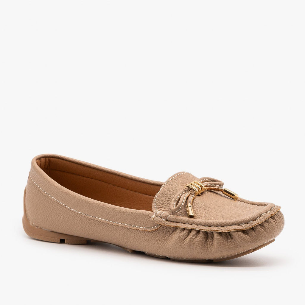 Womens Faux Leather Moccasin Style Flats - Forever - Taupe / 5