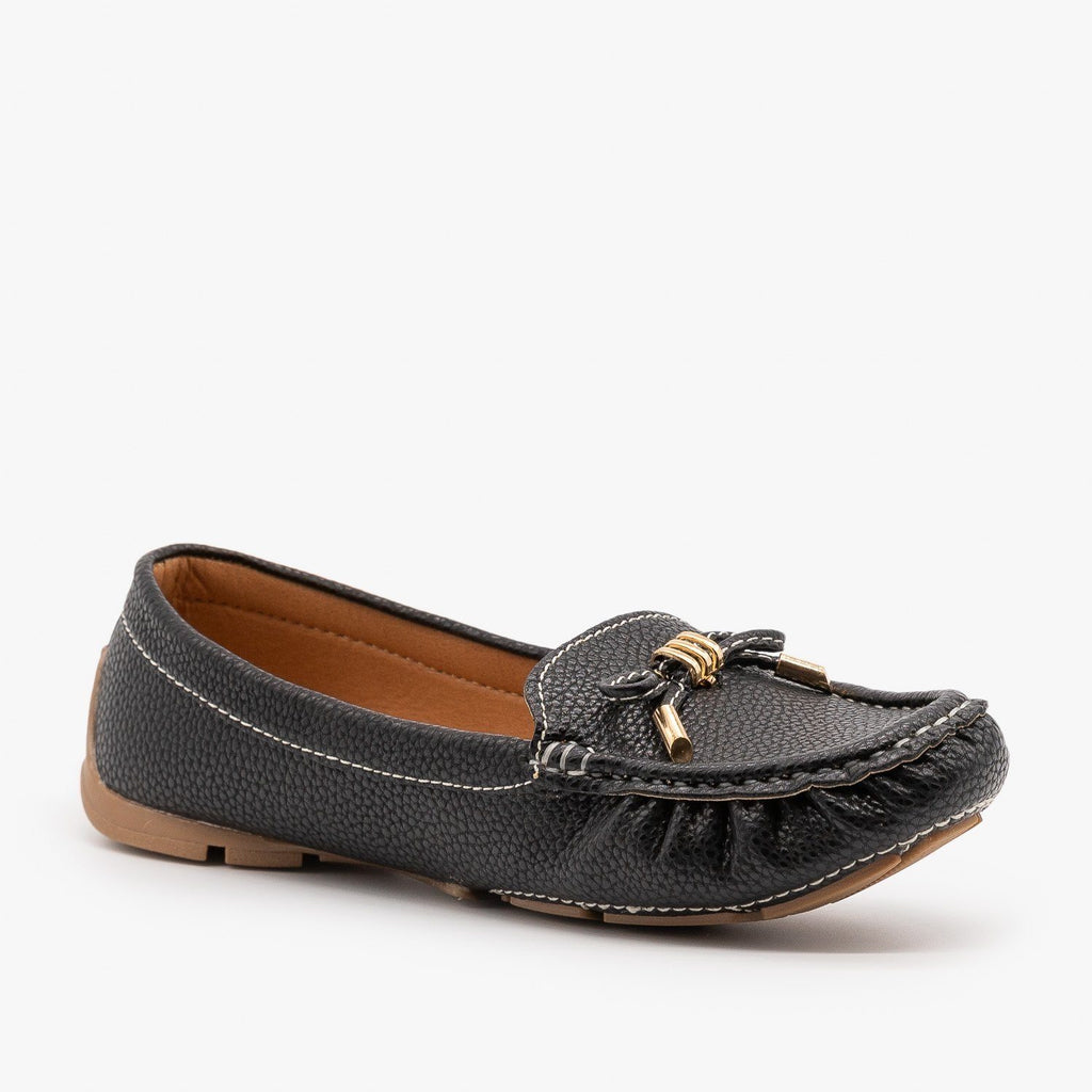 Womens Faux Leather Moccasin Style Flats - Forever - Black / 5