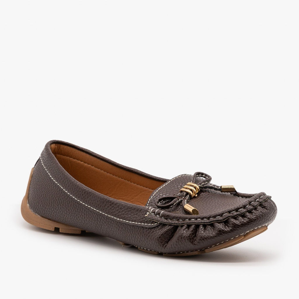 Womens Faux Leather Moccasin Style Flats - Forever - Brown / 5
