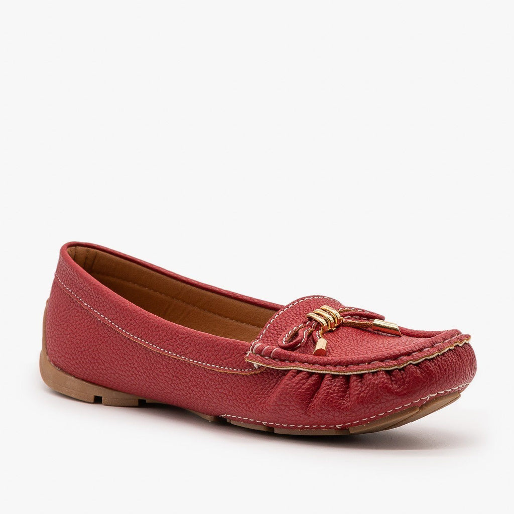 Womens Faux Leather Moccasin Style Flats - Forever - Red / 5