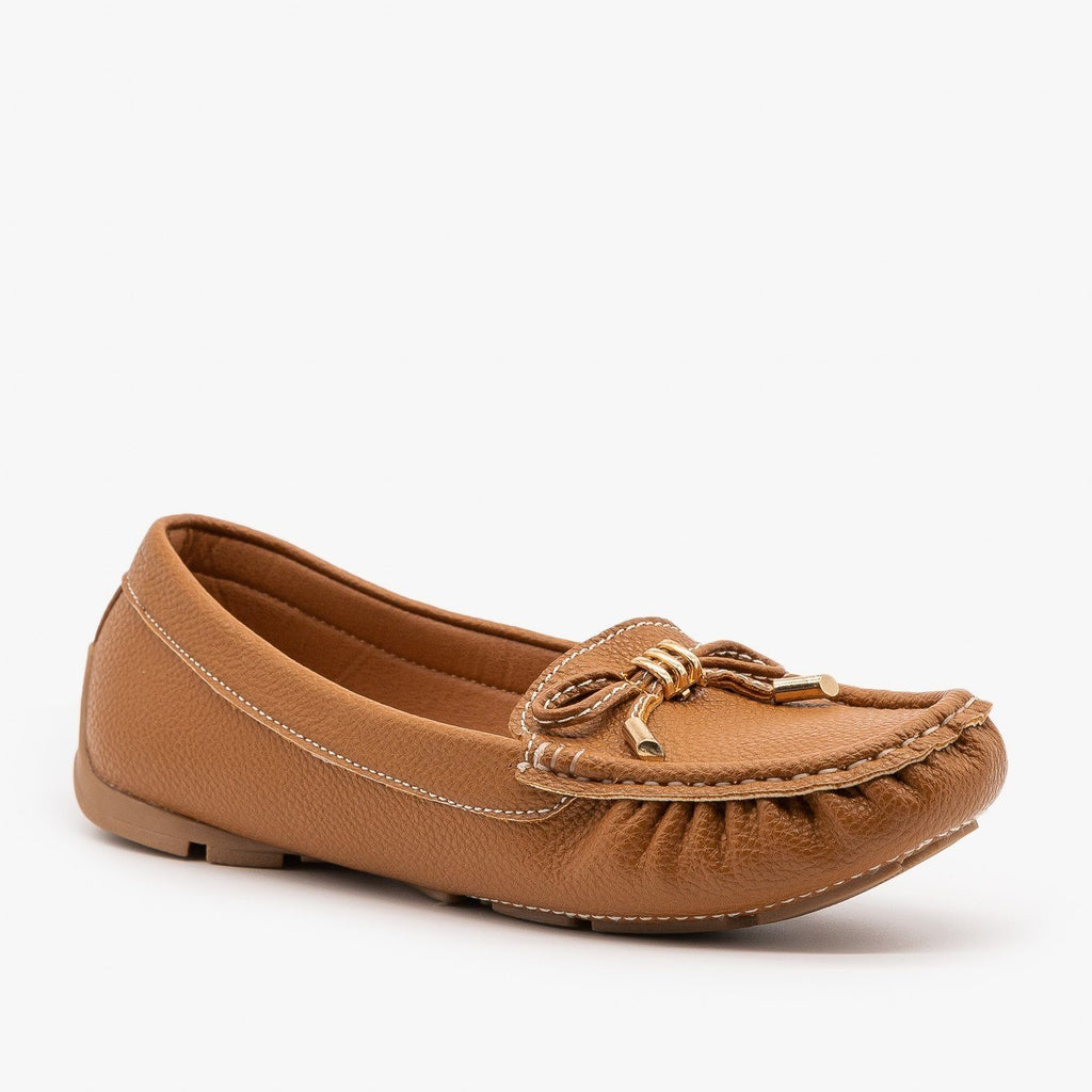 Womens Faux Leather Moccasin Style Flats - Forever - Tan / 5