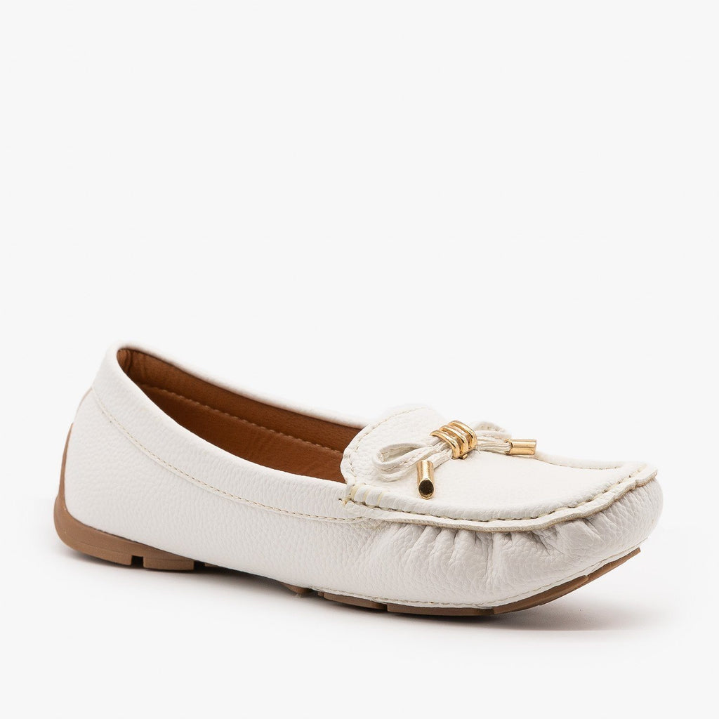 Womens Faux Leather Moccasin Style Flats - Forever - White / 5