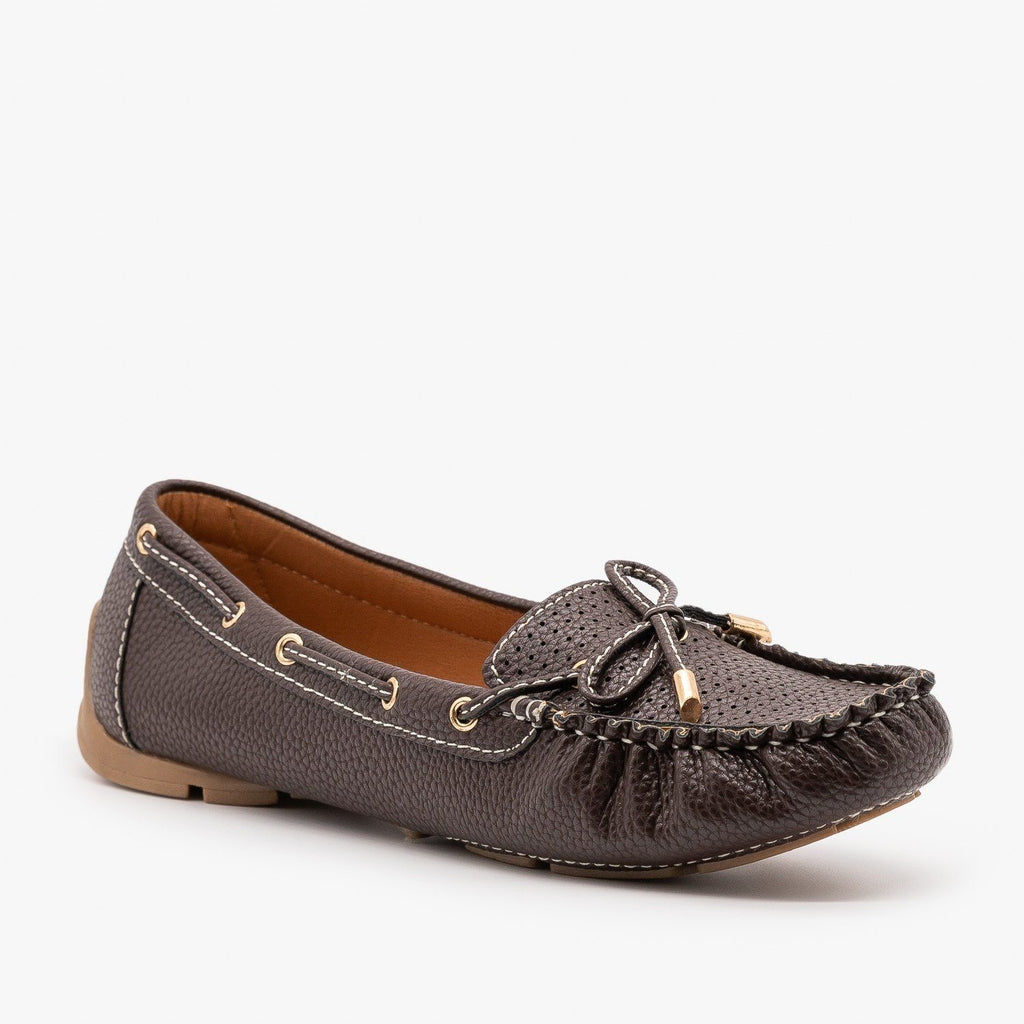 Womens Faux Leather Side Stitched Moccasin Flats - Forever - Brown / 5