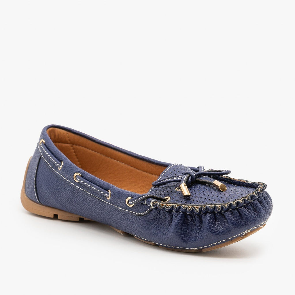 Womens Faux Leather Side Stitched Moccasin Flats - Forever - Blue / 5