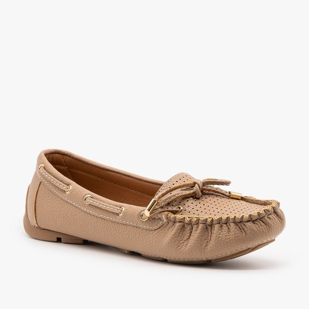 Womens Faux Leather Side Stitched Moccasin Flats - Forever - Taupe / 5