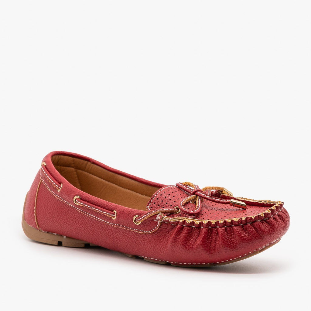 Womens Faux Leather Side Stitched Moccasin Flats - Forever - Red / 5