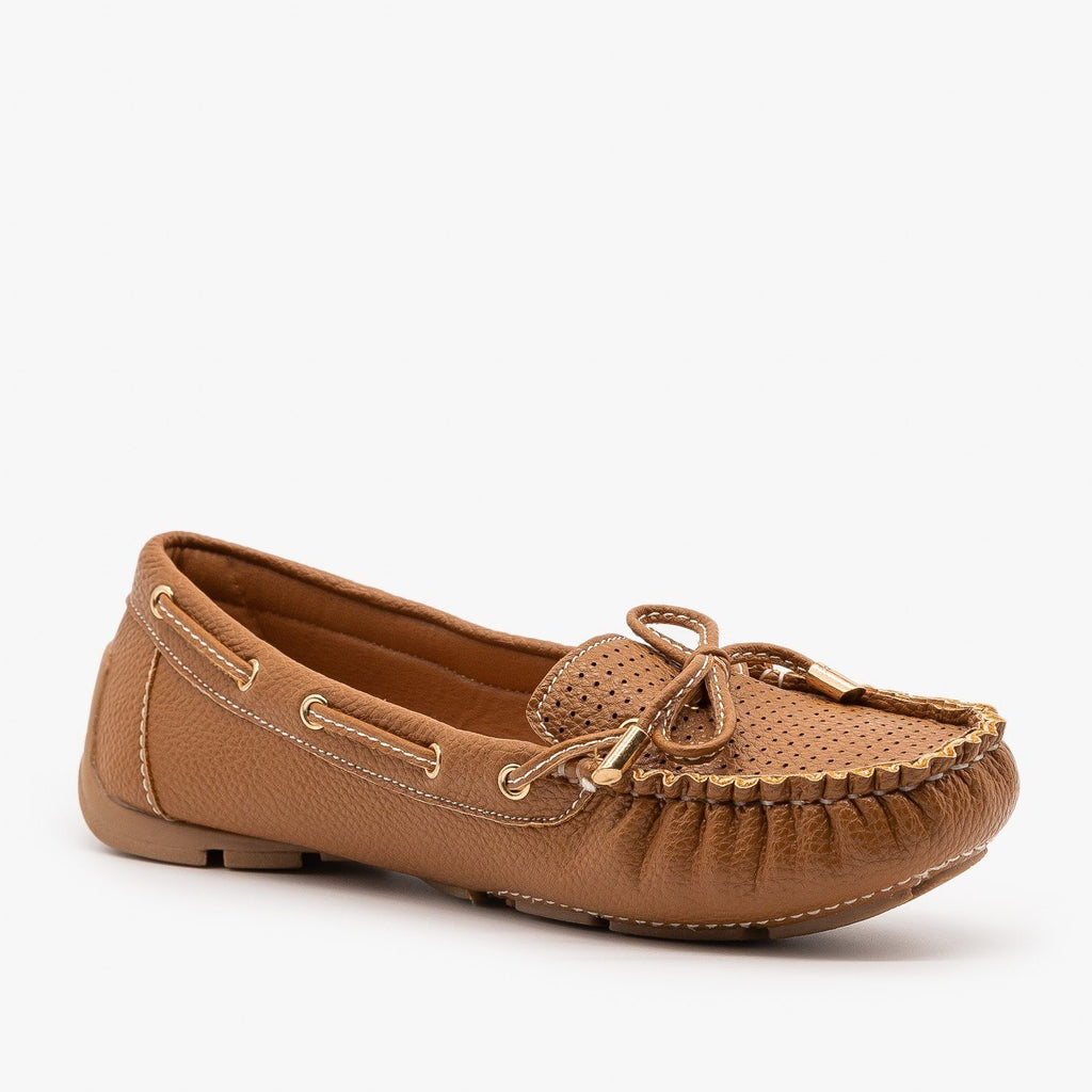 Womens Faux Leather Side Stitched Moccasin Flats - Forever - Tan / 5