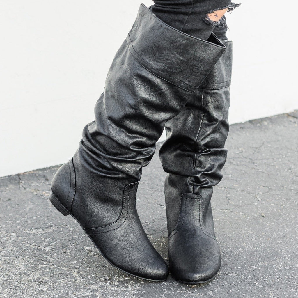 Womens Faux Leather Slouchy Boots - Soda Shoes - Black / 5.5