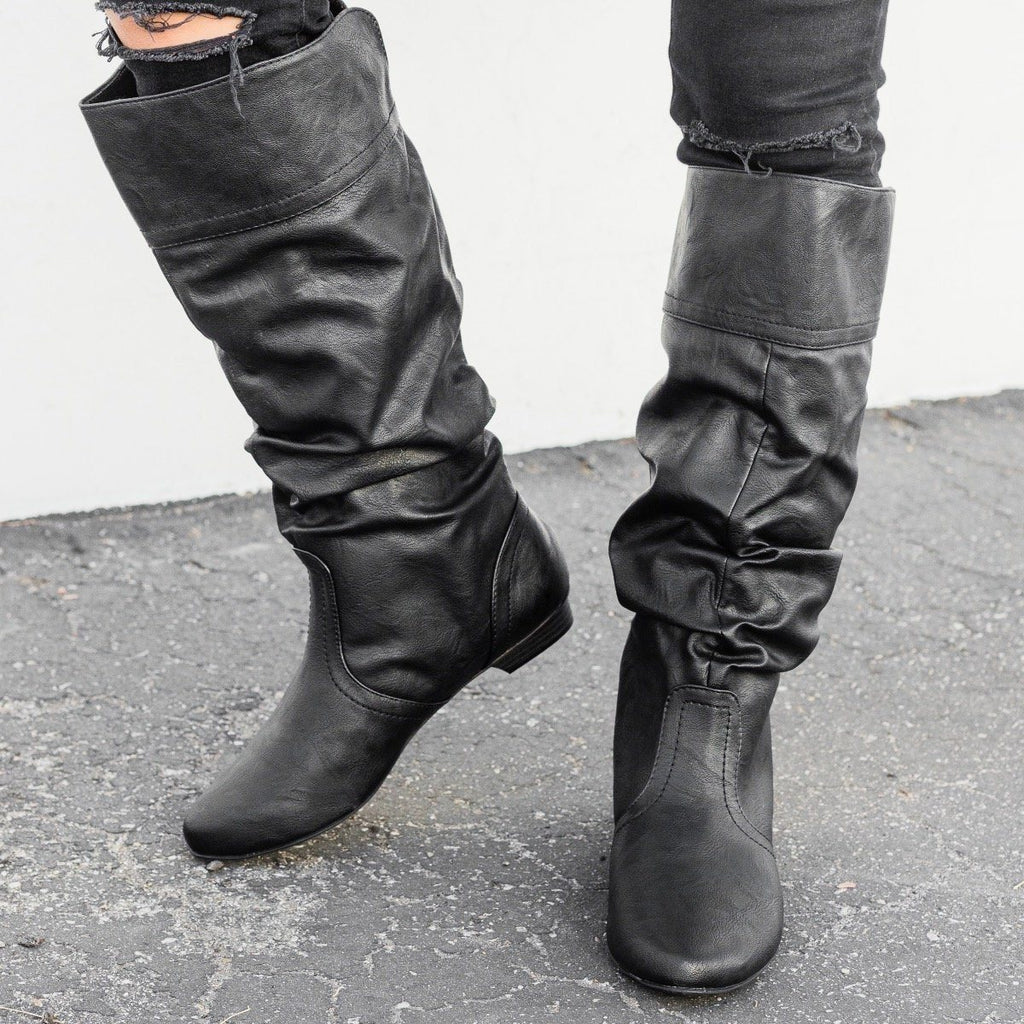 Womens Faux Leather Slouchy Boots - Soda Shoes