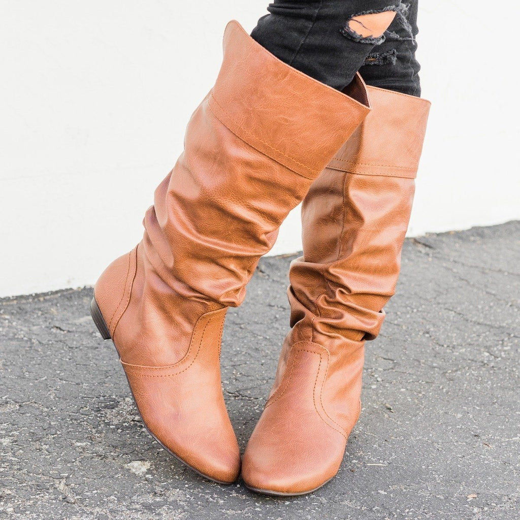 Womens Faux Leather Slouchy Boots - Soda Shoes - Cognac / 5