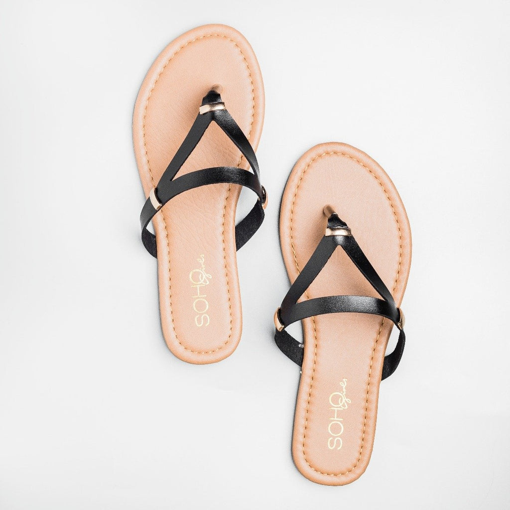 Womens Faux Leather Triangle Flip Flops - Soho Girls