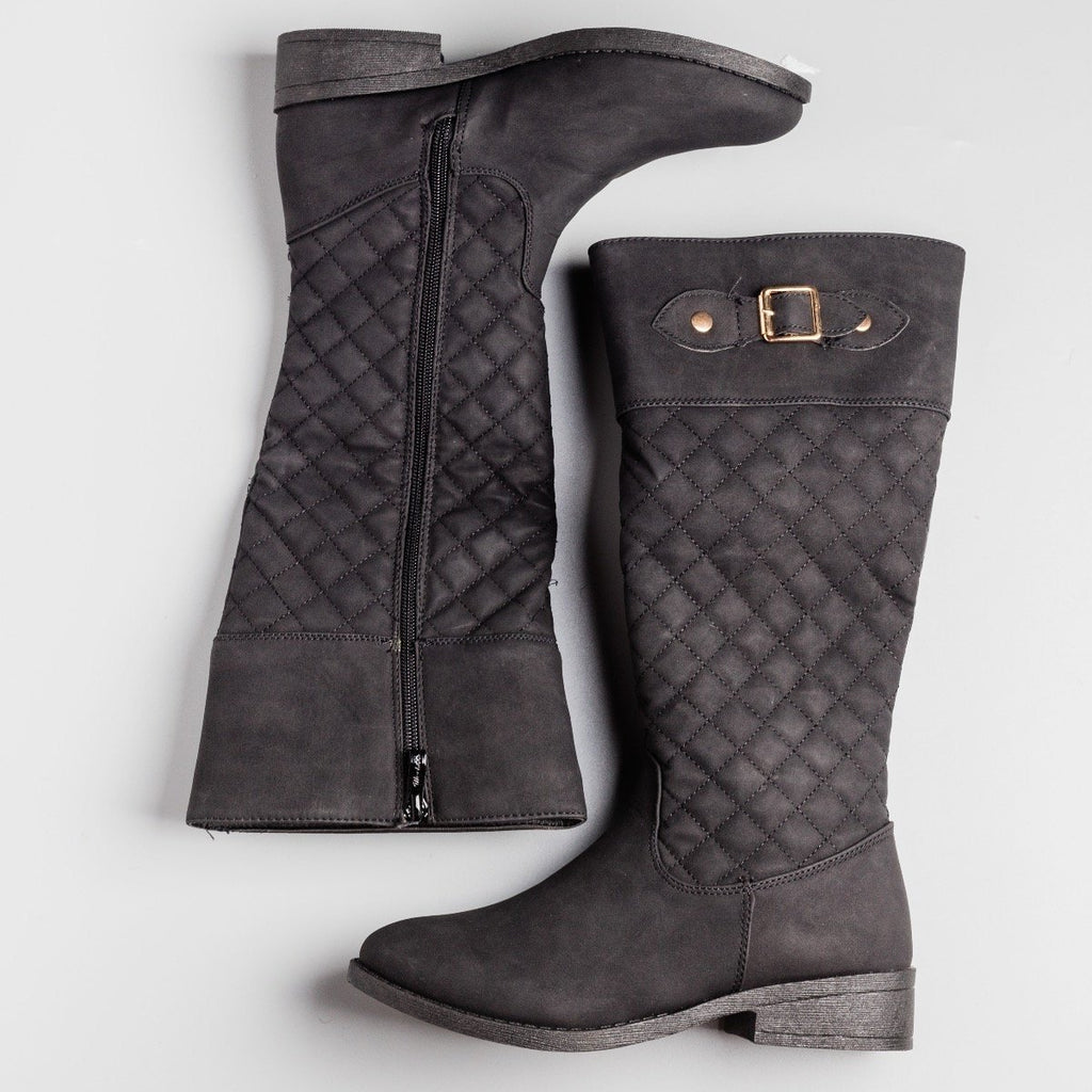 Womens Faux Nubuck Quilted Riding Boots - Weeboo - Black / 5