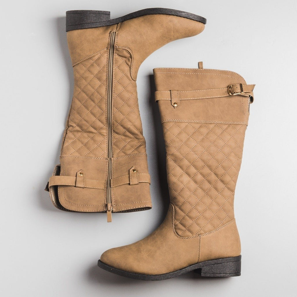 Womens Faux Nubuck Quilted Riding Boots - Weeboo - Taupe / 5