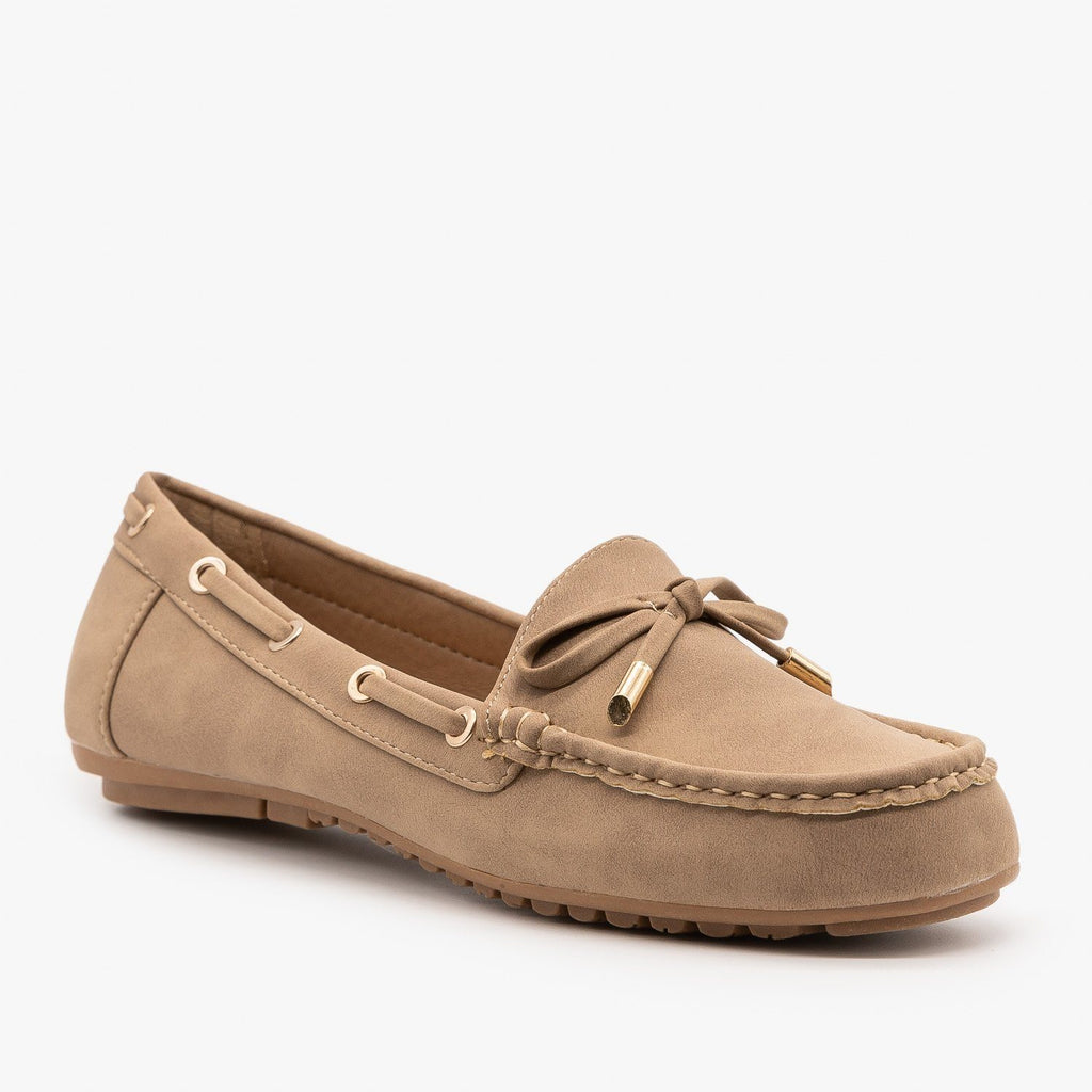 Womens Faux Nubuck Side Stitched Moccasin Flats - Top Moda - Khaki / 5