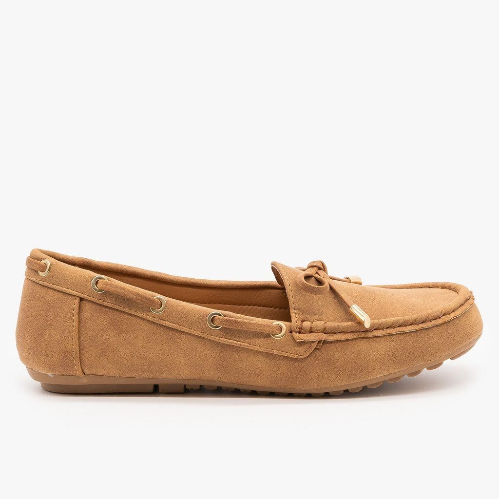 Womens Faux Nubuck Side Stitched Moccasin Flats - Top Moda