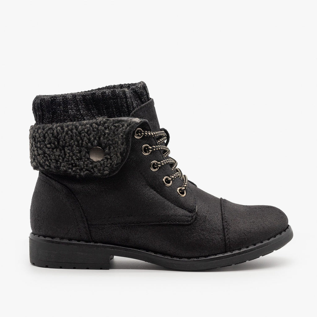 Womens Faux Shearling Cuff Combat Boots - Forever - Black / 5