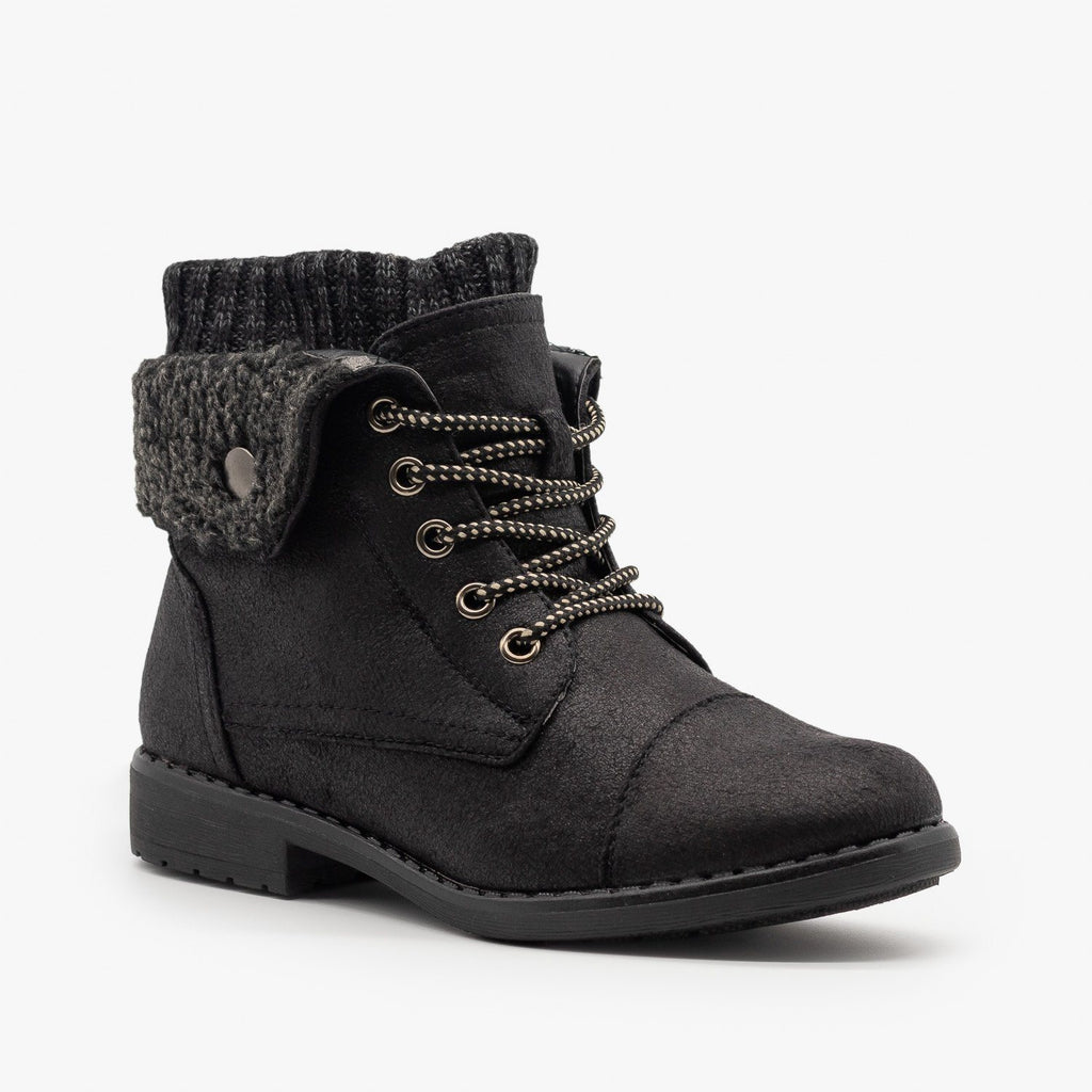 Womens Faux Shearling Cuff Combat Boots - Forever