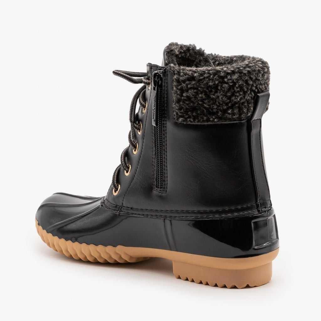 Womens Faux Shearling Cuff Duck Boots - Nature Breeze