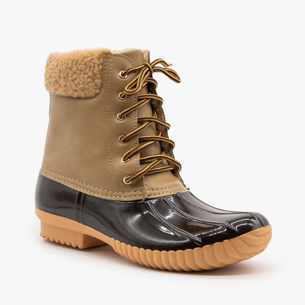 Womens Faux Shearling Cuff Duck Boots - Nature Breeze - Taupe / 5