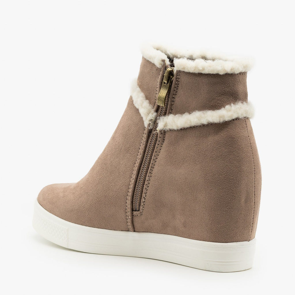 Womens Faux Sherpa Accent Wedge Fashion Sneakers - CCOCCI