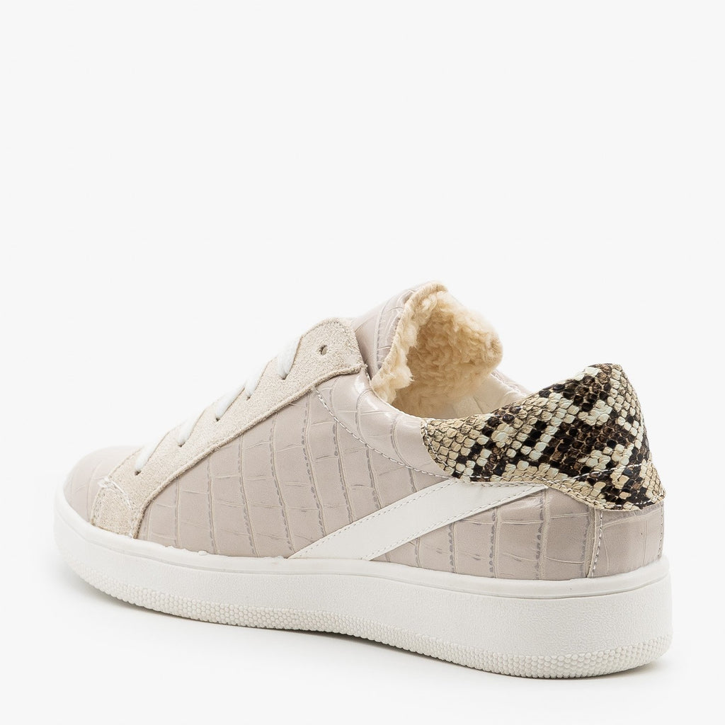 Womens Faux Sherpa Lined Crocodile Sneakers - Nature Breeze