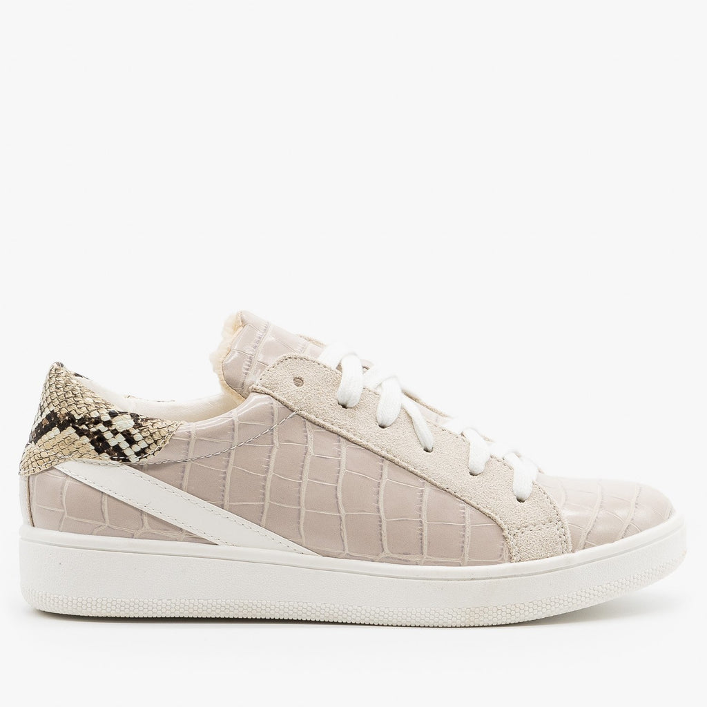 Womens Faux Sherpa Lined Crocodile Sneakers - Nature Breeze - Gray Crocodile / 5