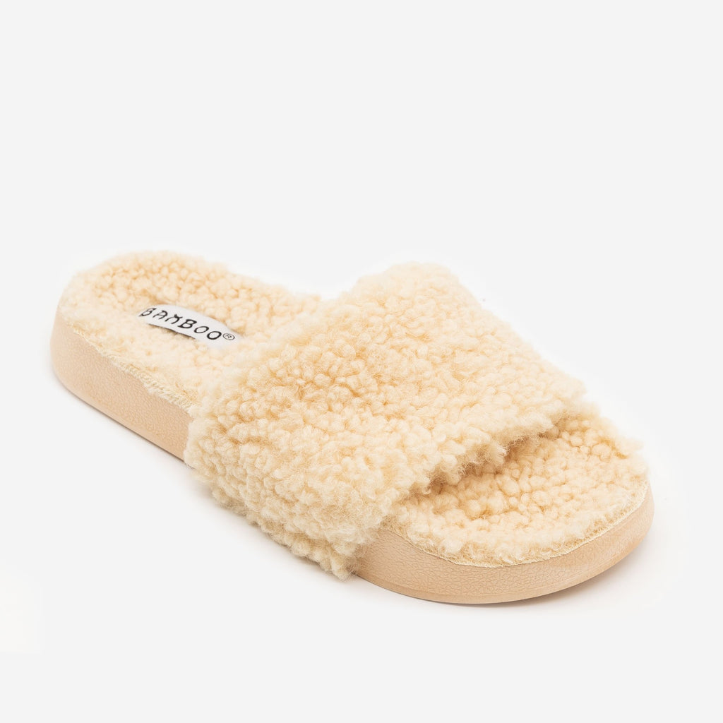 Women's Faux Sherpa Slides - Bamboo Shoes - Beige / 5