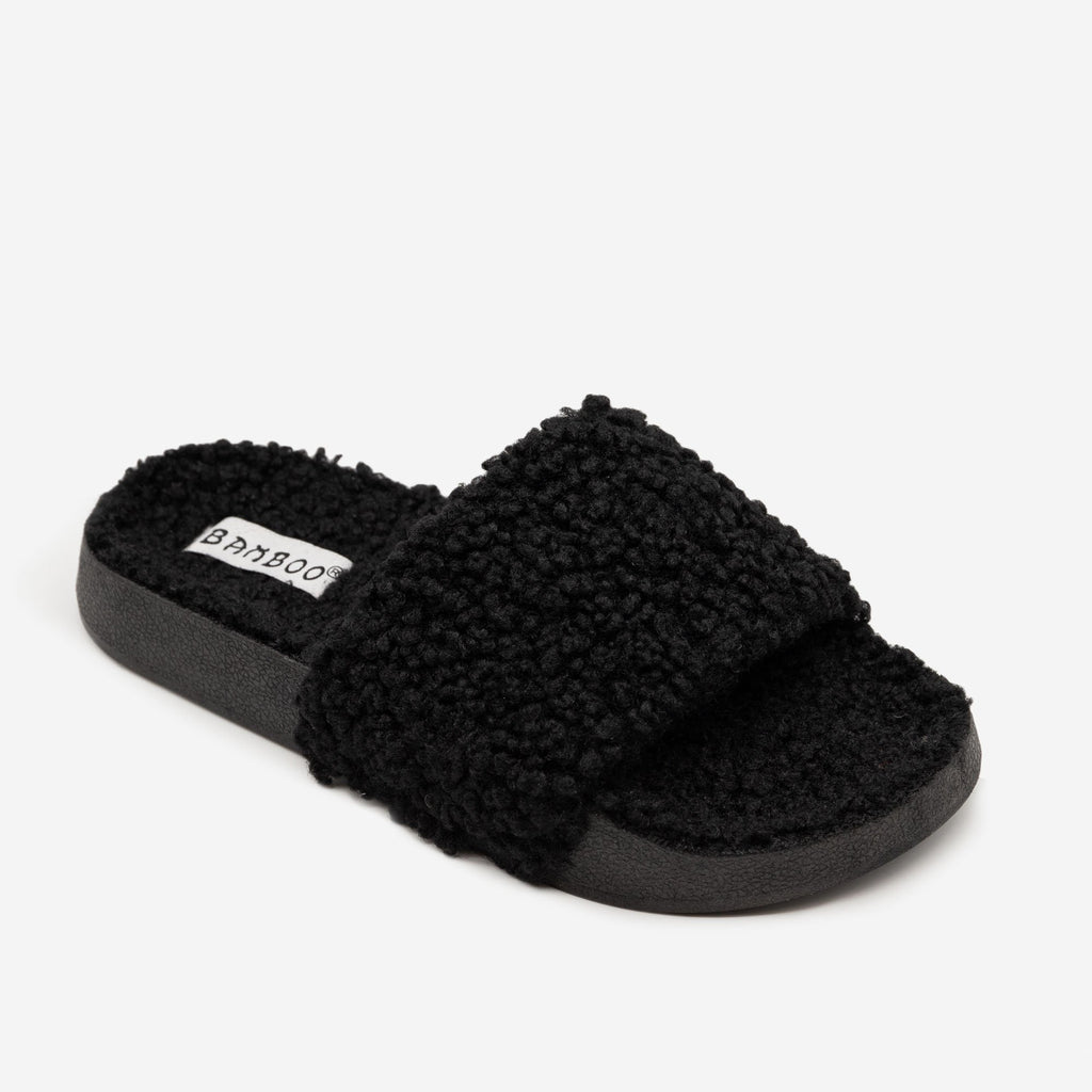 Women's Faux Sherpa Slides - Bamboo Shoes - Black / 5