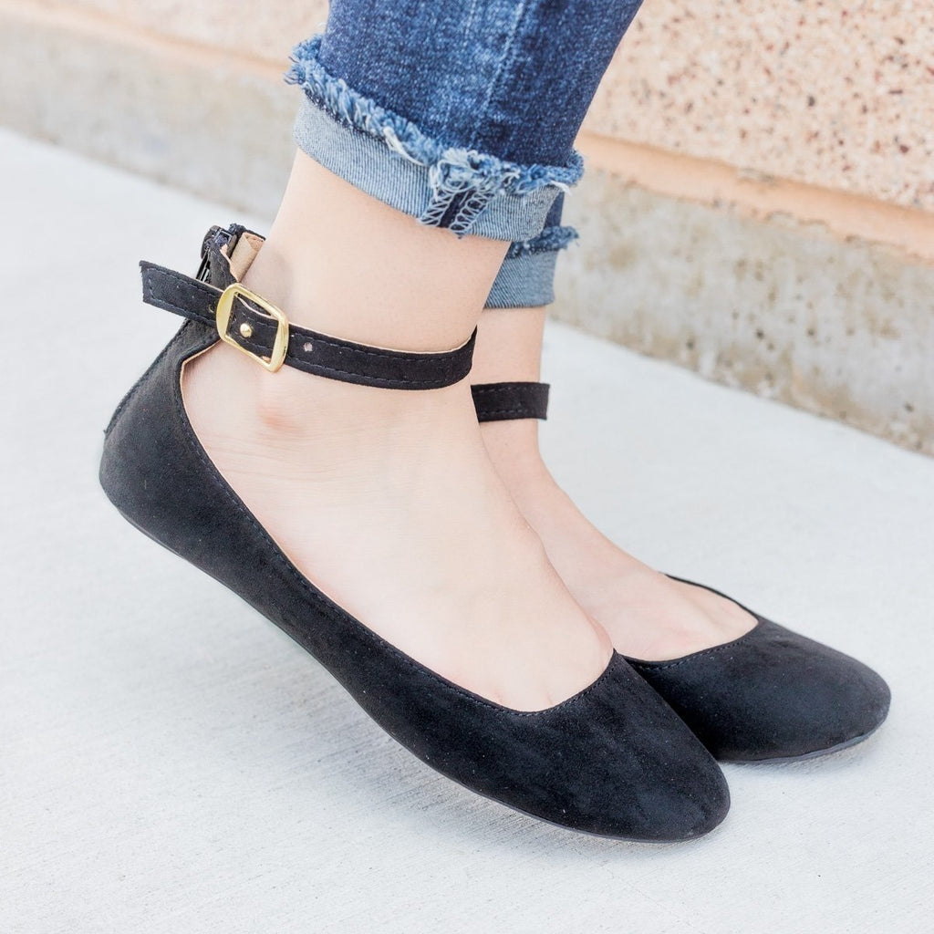 Womens Faux Suede Ankle Strap Ballet Flats - Qupid Shoes