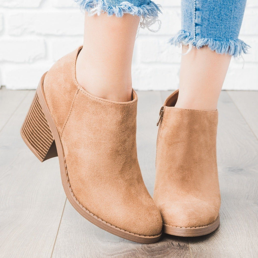 Womens Faux Suede Chunky Heel Fashion Booties - Soda Shoes - Tan / 10